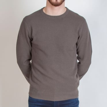 Honeycomb Knit Cotton Crew Neck Knit in Khaki