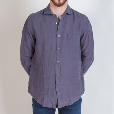 Long Sleeve Linen Shirt with Pocket in Carbone