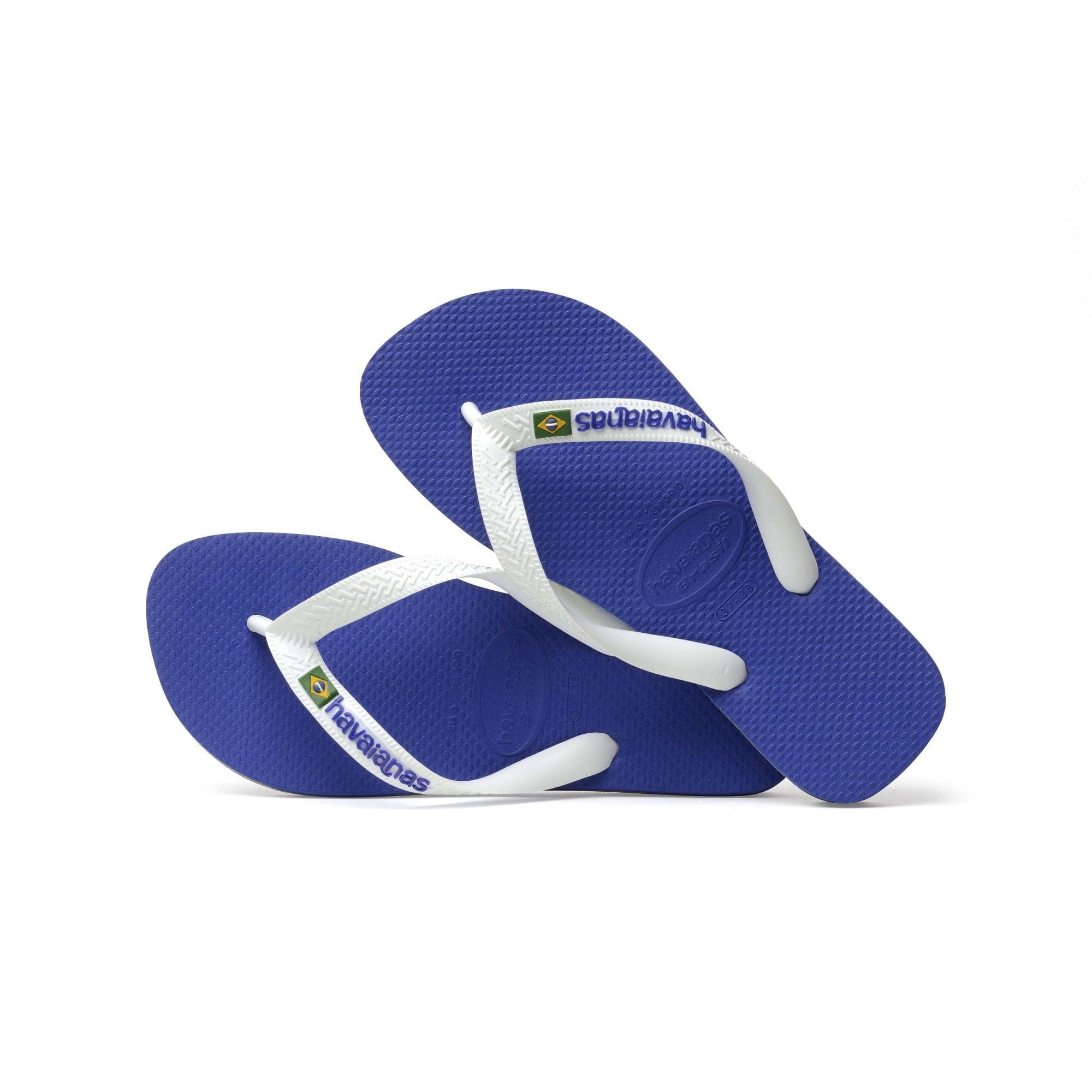 fea0d9e0f Brasil Logo Flip Flops in Marine Blue