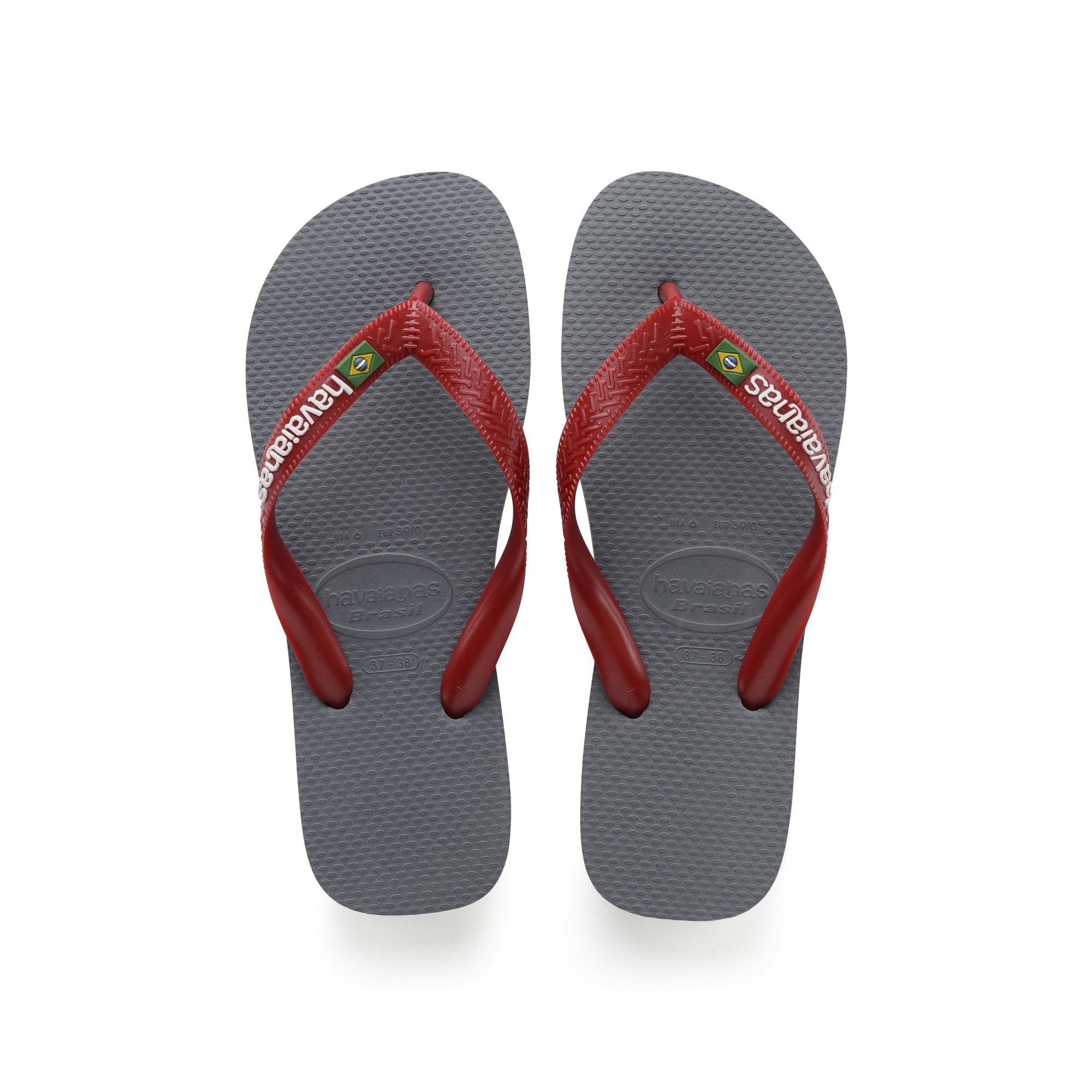 3519fd45a43 Brasil Logo Flip Flops in Steel Grey Red