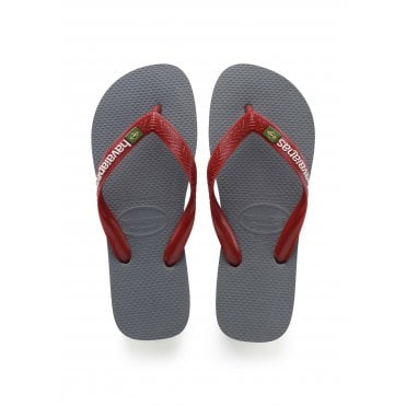 01dd78ade54 Brasil Logo Flip Flops in Steel Grey Red