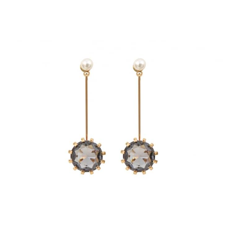 HELENE ZUBELDIA Black Diamond Glass Pendant Earrings