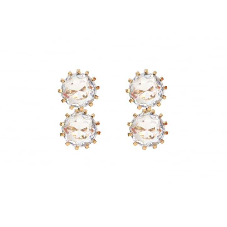 HELENE ZUBELDIA Crystal Glass Clip On Earrings