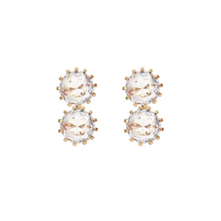 HELENE ZUBELDIA Crystal Glass Clip On Earrings