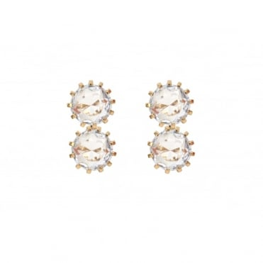 Crystal Glass Clip On Earrings
