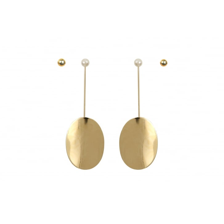 HELENE ZUBELDIA Gold Oval Pendant Earrings