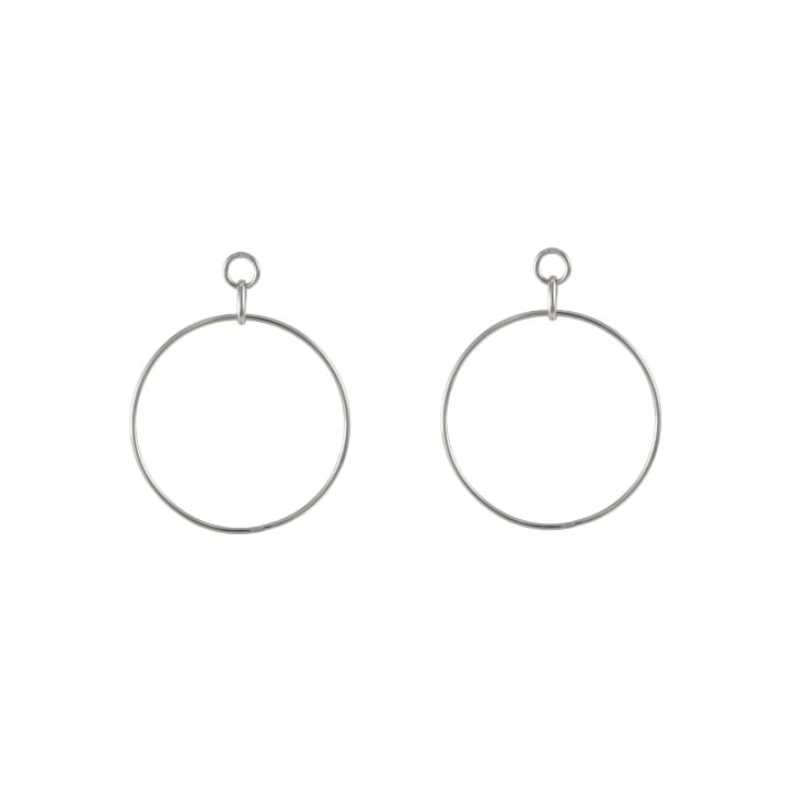 HELENE ZUBELDIA Large Rhodium Circle Earrings