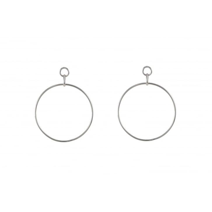 HELENE ZUBELDIA Large Rhodium Circle Earrings