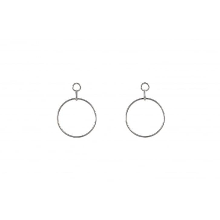 HELENE ZUBELDIA Rhodium Circle Earrings