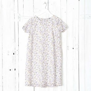 Hiwada Printed Trapeze Dress With Short Sleeves In Cotton