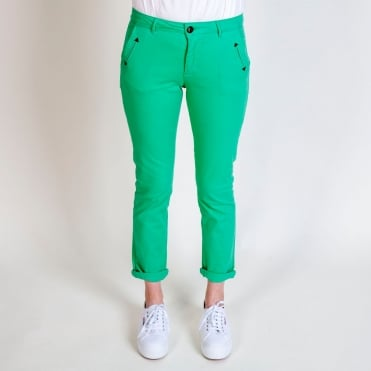 Honore Classic Stretch Chino in Opaline Green