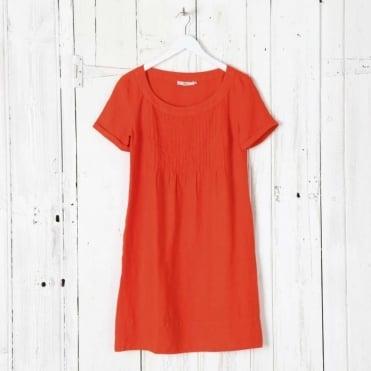 Holiday Pleat Linen Dress
