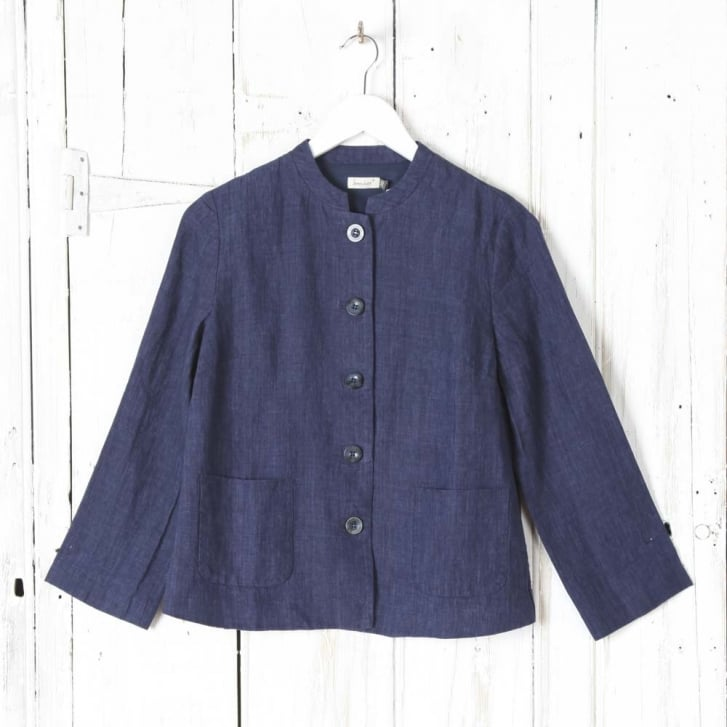 SOMEWHERE PARIS Honem Mandarin Collar Jacket In Chine Linen