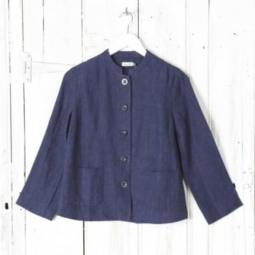 Honem Mandarin Collar Jacket In Chine Linen