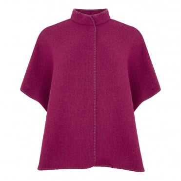 Boiled Wool Cape in Fuschia