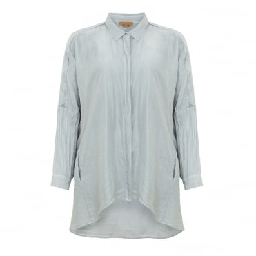 Cocoon Silk Shirt in Silver