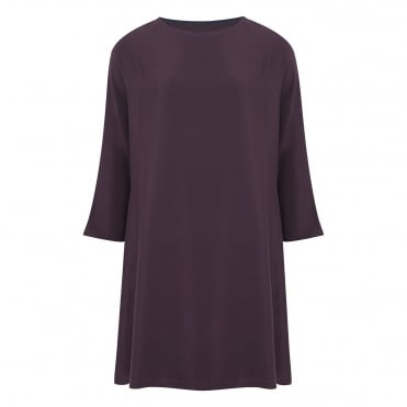 Crepe LS Cocoon Dress in Berry