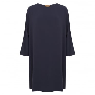 Crepe LS Cocoon Dress in Midnight