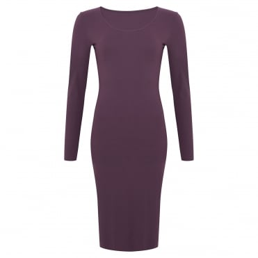Foundation LS Scoop Neck Dress in Berry