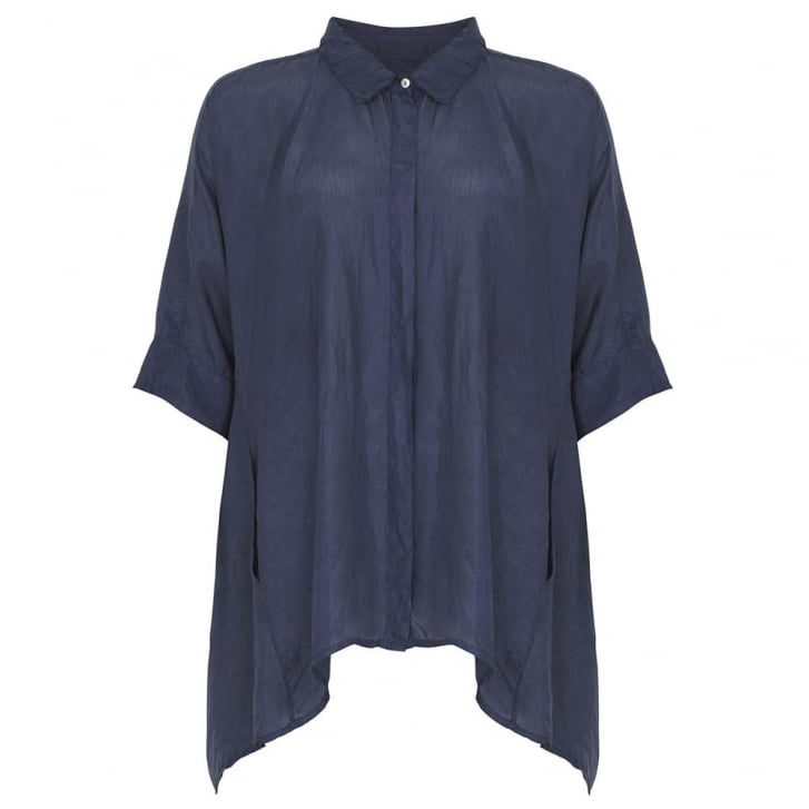 HOPE FASHION Silk Cocoon Shirt with 3/4 Sleeve