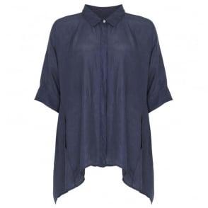 Silk Cocoon Shirt with 3/4 Sleeve