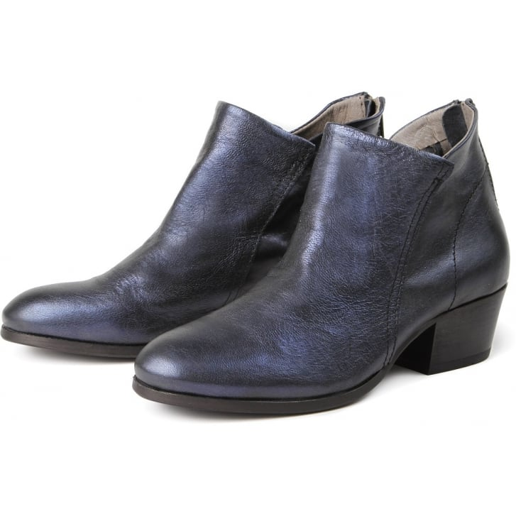 HUDSON LONDON Apisi Calf Metallic Easy Heel Boot in Navy