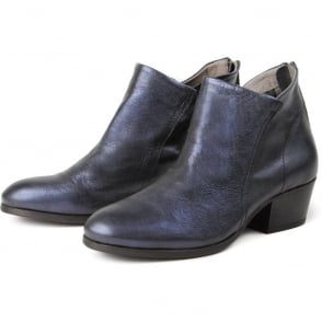 Apisi Calf Metallic Easy Heel Boot in Navy