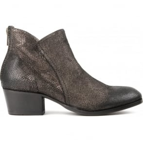 Apisi Calf Metallic Easy Heel Boot in Pewter
