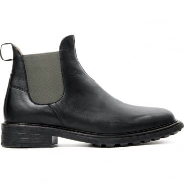 Caslon Calf Boot with Colour Contrast Sides in Black