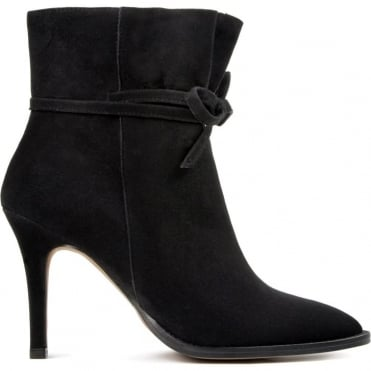 Sheena Suede Heel Boot with Tie Detail in Black