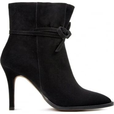 Sheena Suede Heel Boot with Tie Detail in Black