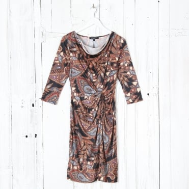 3/4 Sleeve Paisley Print Dress in Flame