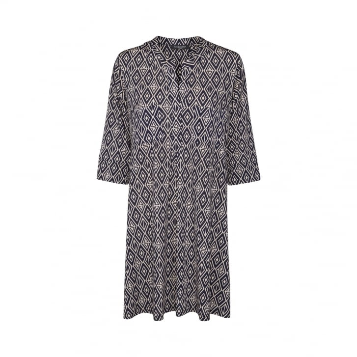 ILSE JACOBSEN A Line Tile Print Tunic with Pockets in Royal
