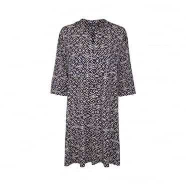 A Line Tile Print Tunic with Pockets in Royal