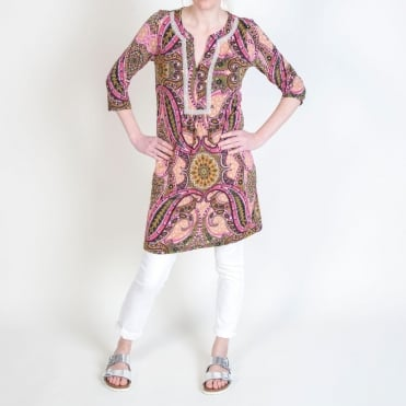 Bejewelled Pucciesque Paisley Tunic Top in Azalea Pink