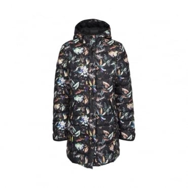 Black Floral Down Coat with Hood