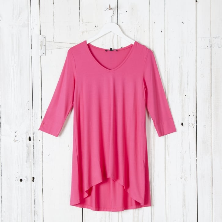 ILSE JACOBSEN Classic Easy Oversized 3/4 Sleeve T-Shirt in Warm Pink
