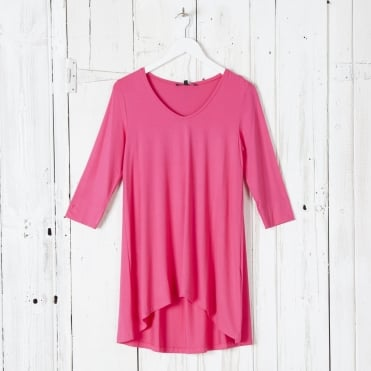 Classic Easy Oversized 3/4 Sleeve T-Shirt in Warm Pink
