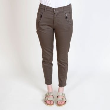 Cotton Cropped Trouser with Zip Detail in Army