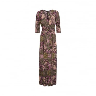 Empire Line Tie Maxi Dress in Paisley Print