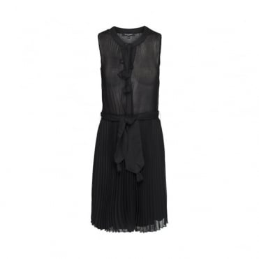 Gathered Waist Pleated Dress