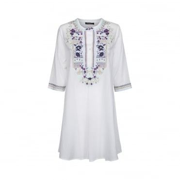 Linen Embroidered Flare Tunic in Dark Bell Flower