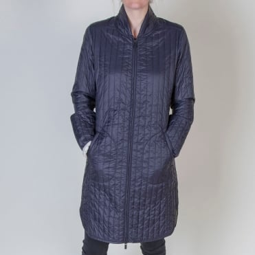 Narrow Channel Quilt Coat in Dark Indigo