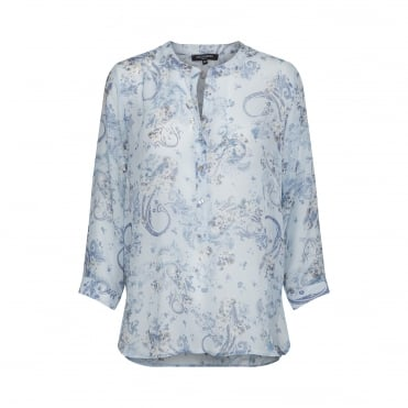 Paisley Print Collarless Top in Helium Blue