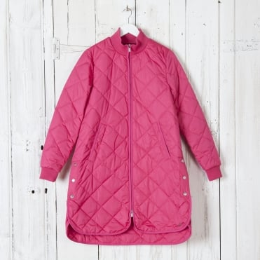 Quilted A Line Coat in Warm Pink