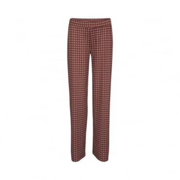 Small Diamond Pattern Straight Leg Trousers in Brownie