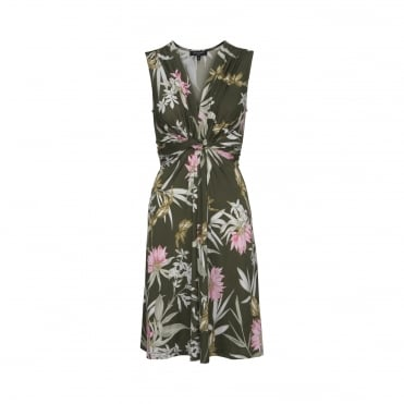 Tropical Print Sleeveless Twist Front Dress in Army