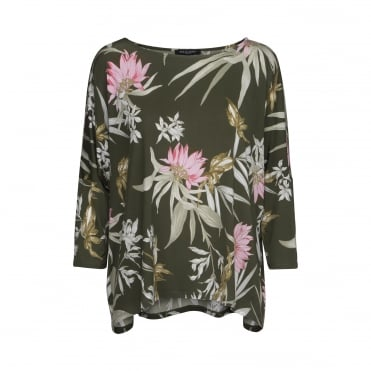 Tropical Print Top in Army