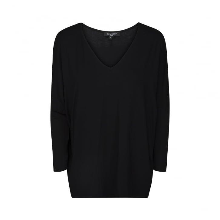 ILSE JACOBSEN V Neck 3/4 Sleeve Oversized Top in Black