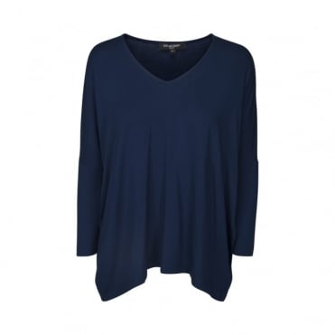 V Neck 3/4 Sleeve Oversized Top in Dark Indigo